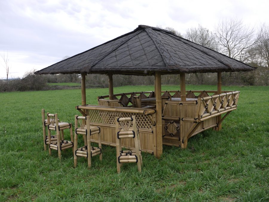 gazebo bar, abri de jardin bambou bar, paillote bar 1